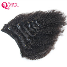 Dreaming Queen Hair Afro Kinky Curly Clip In Human Hair Extensions Mongolian Curl 7 Sets Clips Ins 4ABC curl pattern  Hair