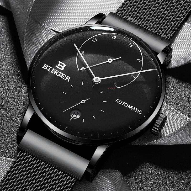 Switzerland BINGER Brand Men Watch Luxury Automatic Mechanical Mens Watches Sapphire Male Japan Movement Mens Watch reloj hombre đồng hồ binger bg54