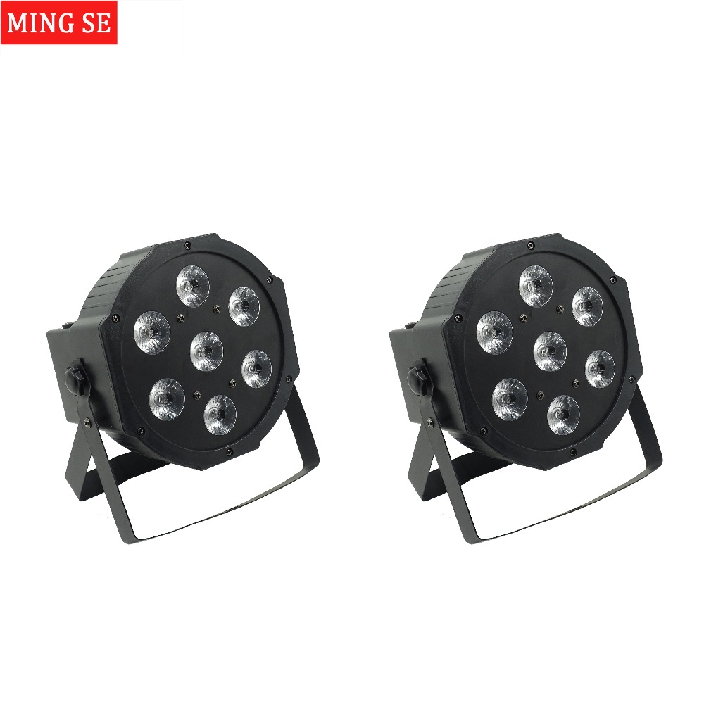 2pcs/lots 25 Angle Big Lens 7x18W Led Par Lights RGBWA UV 6in1 Flat Par Led Dmx512 Disco Lights Professional Stage Dj Equipment