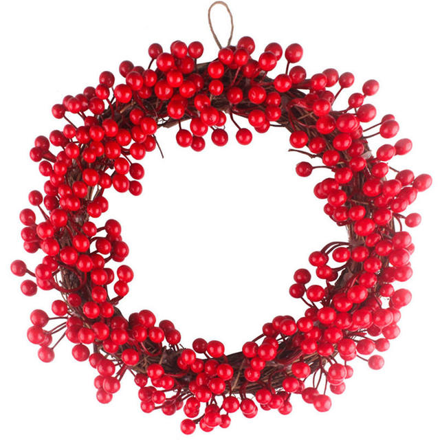 diy 3540cm red berries rattan christmas wreath garland decoration red wreath hanging christmas decoration