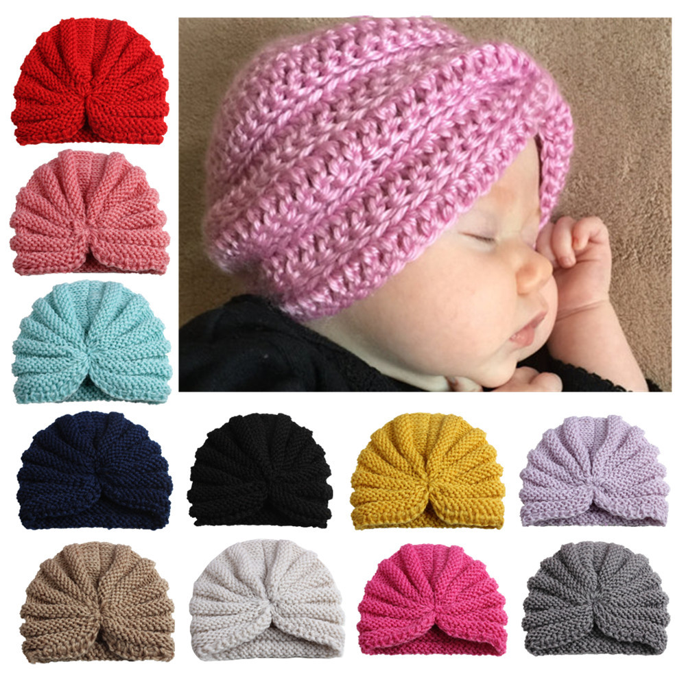 DreamShining Fashion Newborn Photography Props Solid Color Knitted Baby Hat Beanies Unisex Kids Cap Clothing Accessories