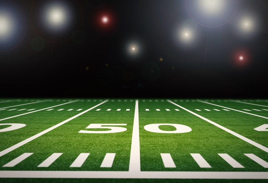 American Football Background Page: Laeacco Bright American Football Field Photography
