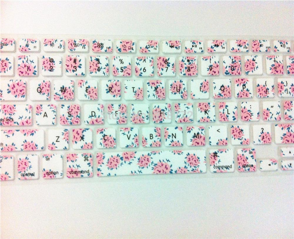 Flower Floral Pattern Silicone Laptop keyboard Skin Protector Cover film Guard 100pcs for Apple Macbook Pro Air Retina 13 15 17