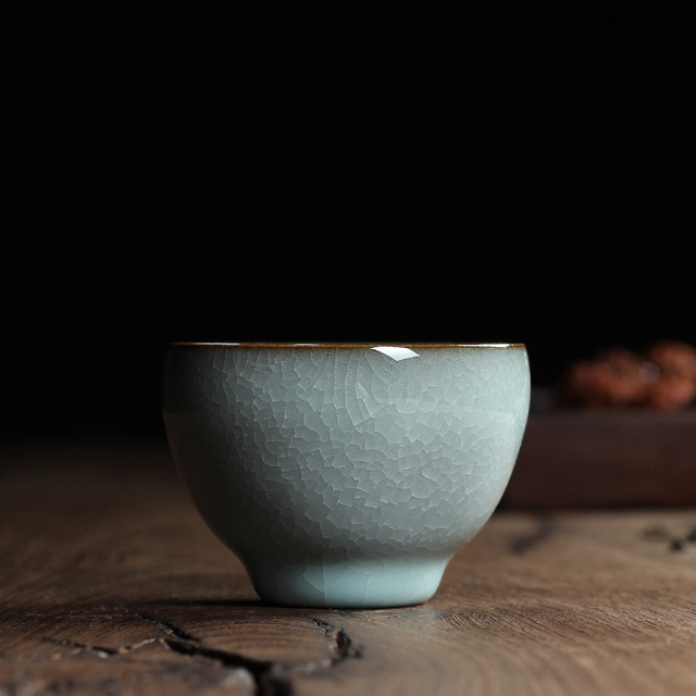 Chinese Longquan Top Grade Celadon China Teacup TeaBowl 70ml Hundredfold Crackle Master Cup For Art Collection By Great Artist