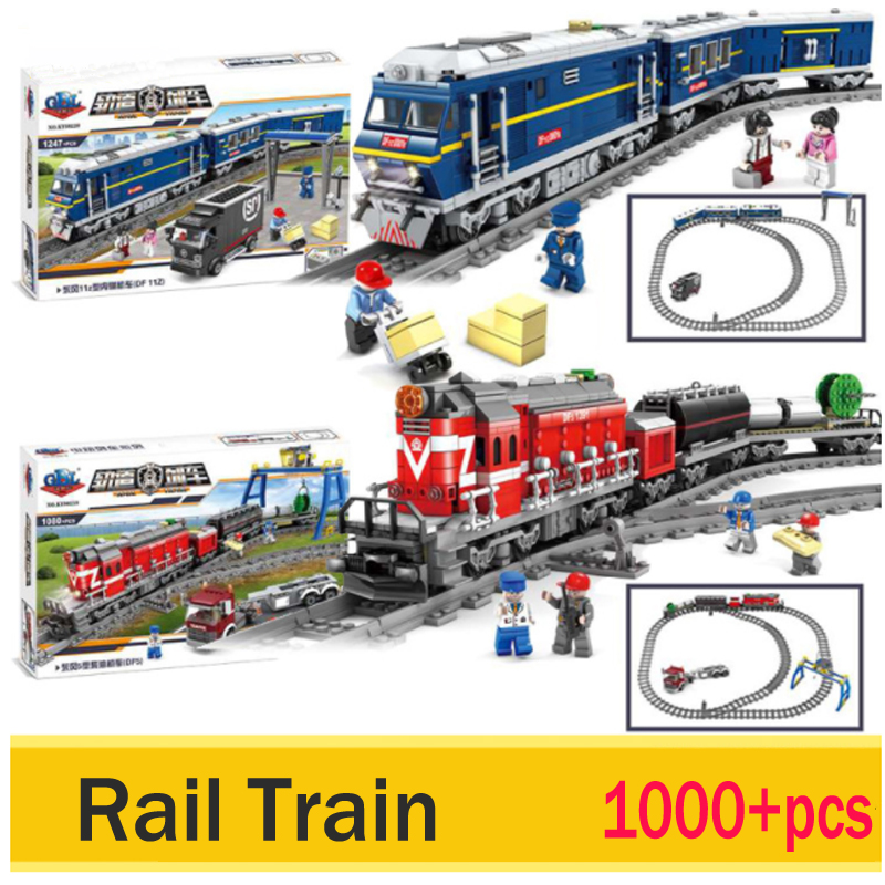 LWKO City Series model the Cargo Set Building Train Train track Blocks Bricks Train With Legoe Kids Toys for Children Gift