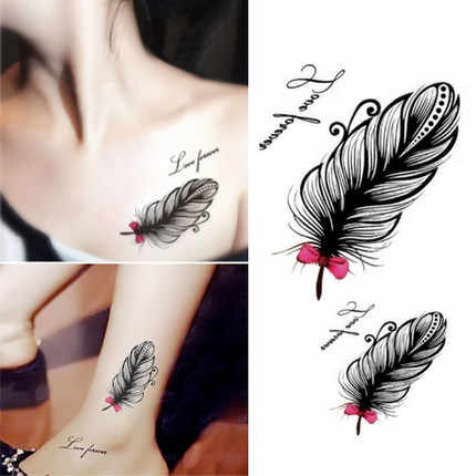 Personality feather tattoo paste female clavicle ankle waterproof male simulation tattoo stickers cover scars