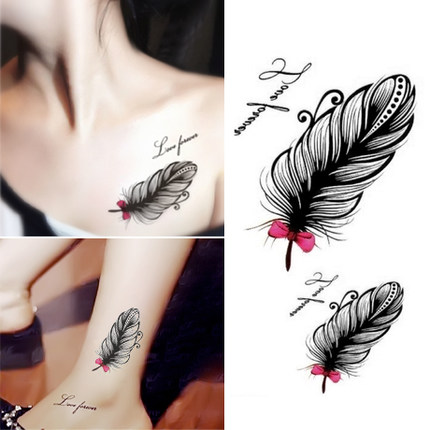Personality Feather Tattoo Paste Female Clavicle Ankle Waterproof