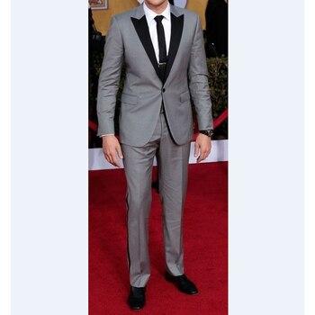 Slim fit Groomsmen Peak Black Lapel Groom Tuxedos Light Grey Mens Suits Wedding Best Men suit (Jacket+Pants+Tie+Hankerchief)