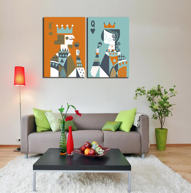 King And Queen Wall Decor aliexpress : buy 2 pieces picture poker king and queen toast