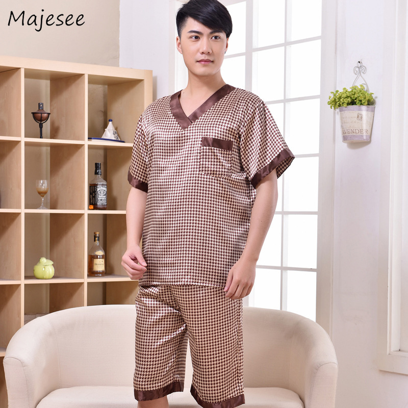 Pajama Sets Men V-Neck Pockets Leisure Daily Thin Breathable Soft Silk Soft Simple Home Clothing Mens Summer High Quality Set