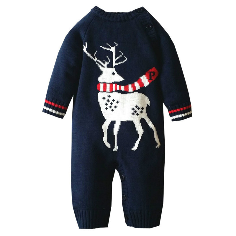 .christmas clothes baby Rompers Winter Thick Climbing Clothes Newborn Boys Girls Warm Romper Knitted Sweater Christmas Deer 2017 baby jumpsuits winter overalls deer kinitted rompers climbing clothes sets for newborn boys girls costumes hooded sweater