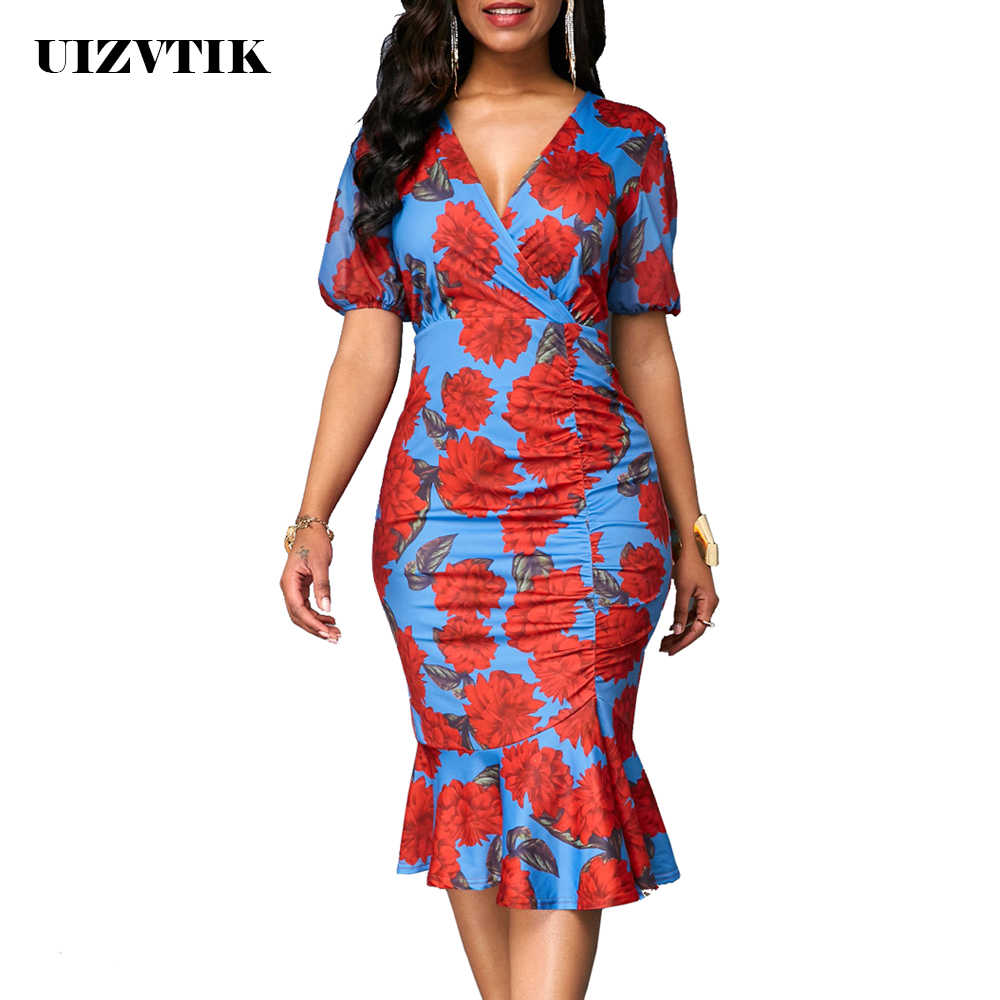 Summer Dress Women 2019 Casual Plus Size Slim Print Office Bodycon Dresses Elegant Vintage Sexy V Neck Mermaid Long Party Dress