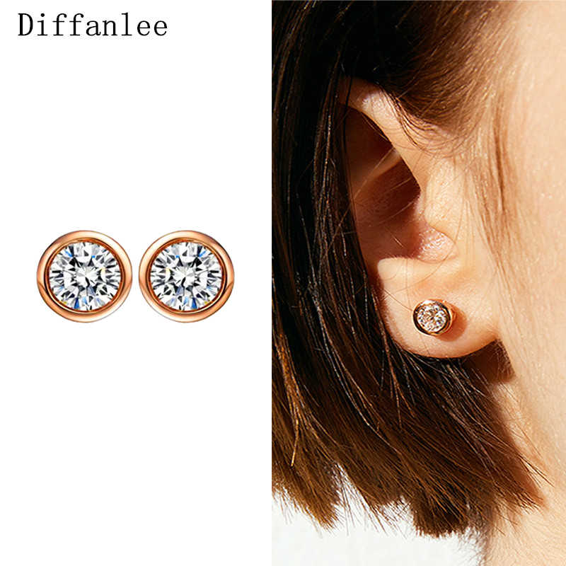 Moda Ear Studs Top Quality Clássico Limpar Cubic Zirconia 585 Cor de Ouro Do Parafuso Prisioneiro de Moda Brinco Para As Mulheres Do Partido da Jóia Do Casamento