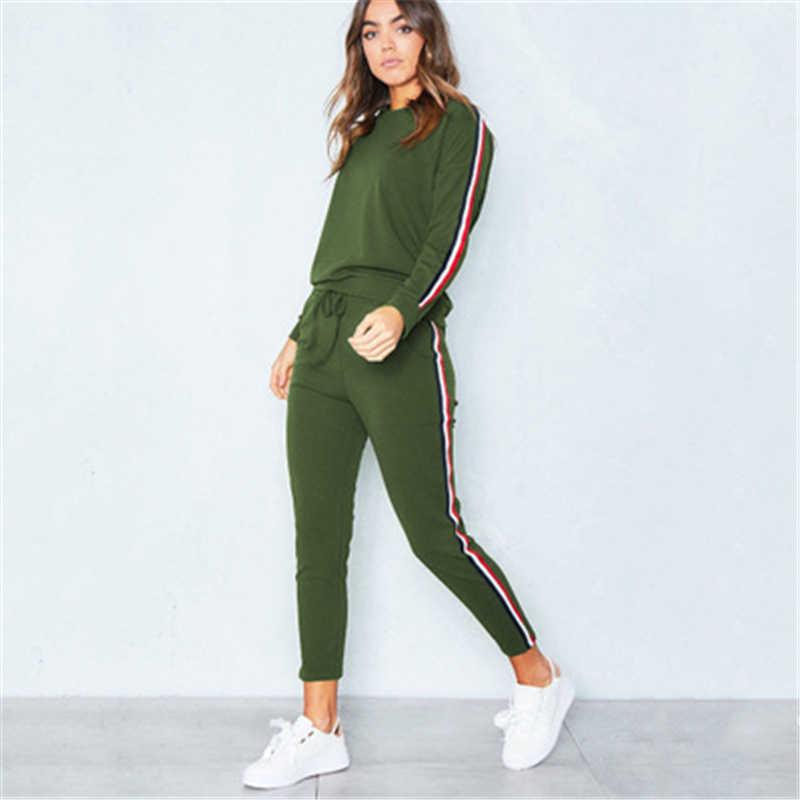 Ilkbahar Sonbahar Kadın Giyim Büyük Boy Kadın Iki Takım Elbise Setleri Uzun Pantolon Kazak Takım Elbise Pamuk Casual Kadın Çizgili Takım Elbise J776