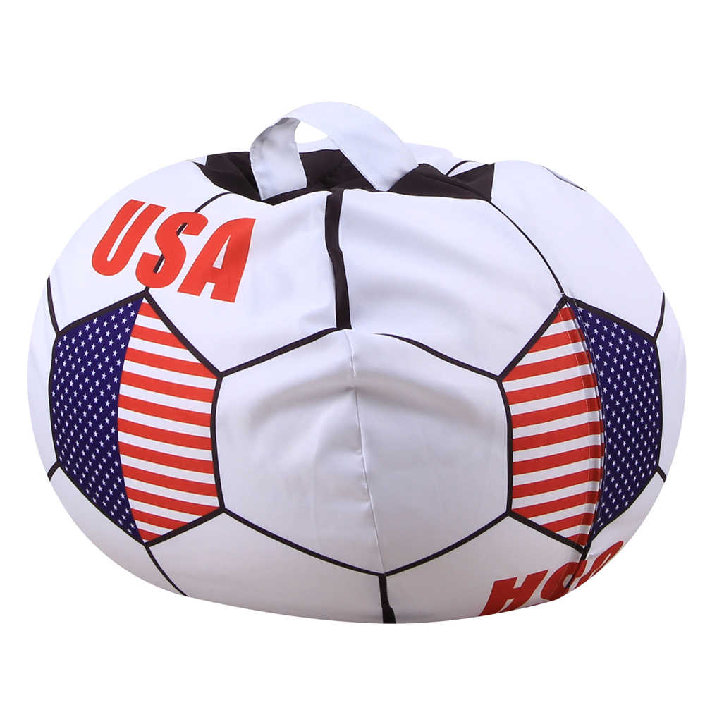 a5dc173362a Football Shape Bag Stuffed Animal Storage Bean Bag Chair Kids Clothes USA france  soccer cup Toy