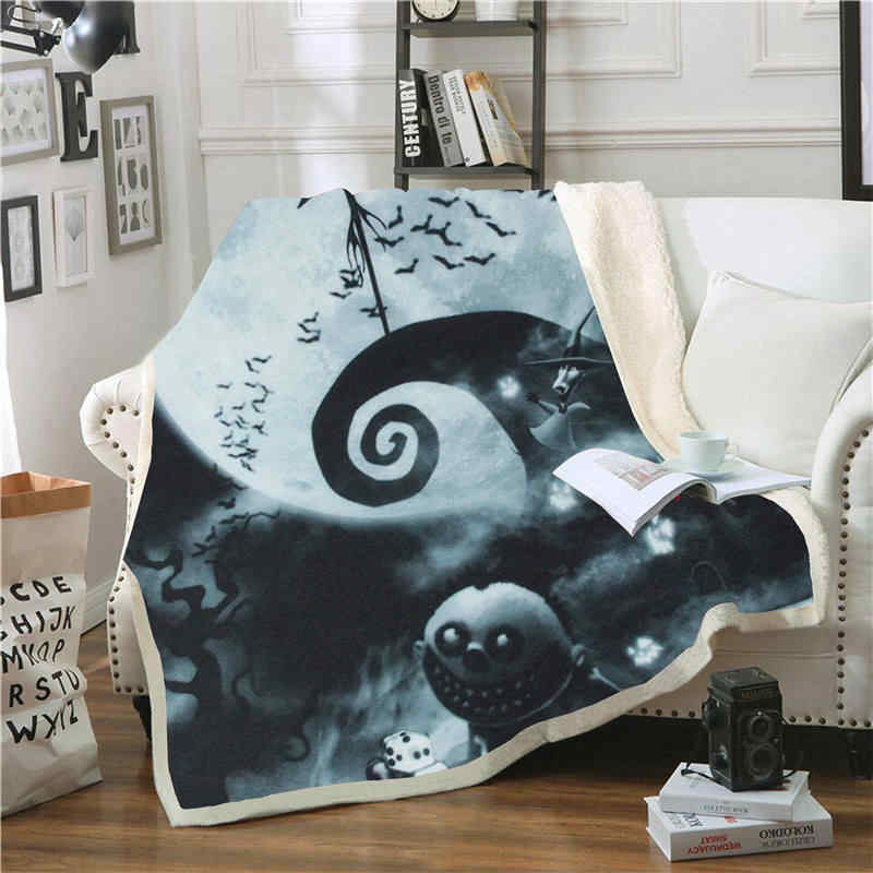 Jack Skellington Print Sherpa Blanket Couch Sofa Travel Youth Bedding Fleece Thick Blanket Bedspread Home Decoration Tapestry
