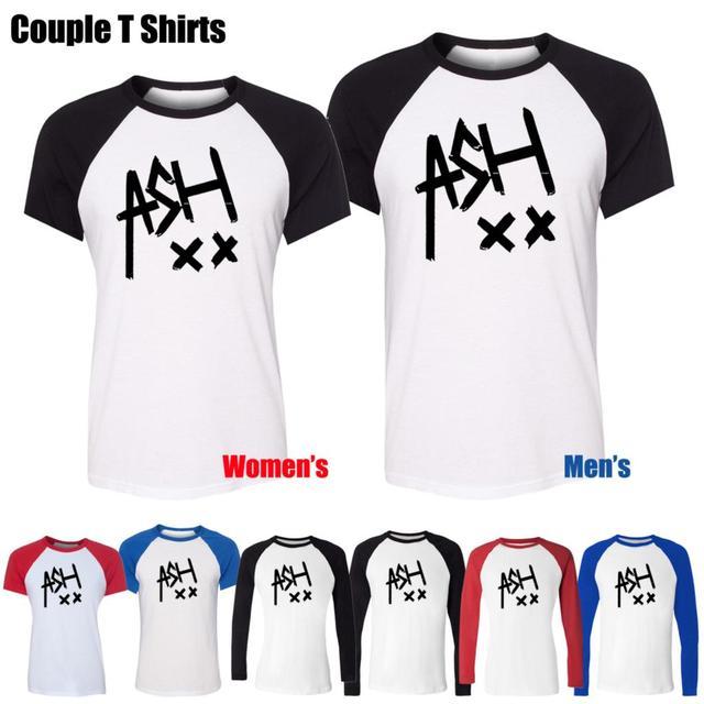 Ceniza 5SOS Ashton Irwin música Tumblr 5 SOS Band diseño impreso T-Shirt mujeres de la muchacha Tops Graphic rojo o negro manga