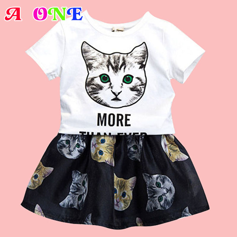 Summer cartoon cat letter print baby white tee + mesh skirt girls 2 pcs set kid brand suit children clothes 80-126cm