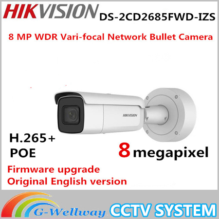 International English version DS-2CD2685FWD-IZS 8MP network bullet ip CCTV camera face detection WDR VF lens IP67 IK10 H.265+ hik ip camera ds 2cd4026fwd ap ultra low light 128gb onvif rj45 intrusion detection face detection recognition