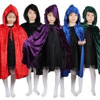 Rouge Noir Capot Fille Garçon Mort Cape Magicien Sorcière Assistant Cape Cape Robe Fantasia Infantil Halloween Costume pour Enfants Enfants