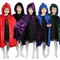Vermelho Preto Capuz Menino Menina Magician Witch Manto Morte Assistente Manto Cape Robe Fantasia Infantil Traje de Halloween para Crianças Crianças
