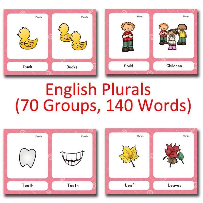 70 Groups Noun English Plurals Kids Montessori English Word Pocket FlashCards Game Learning Educational Toys For Children Games dinosaur world jurassic park scene play mat kids