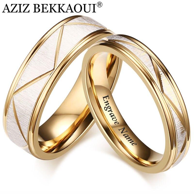 AZIZ BEKKAOUI Engrave Name Romantic Wedding Rings For Lover Customized Stainless Steel