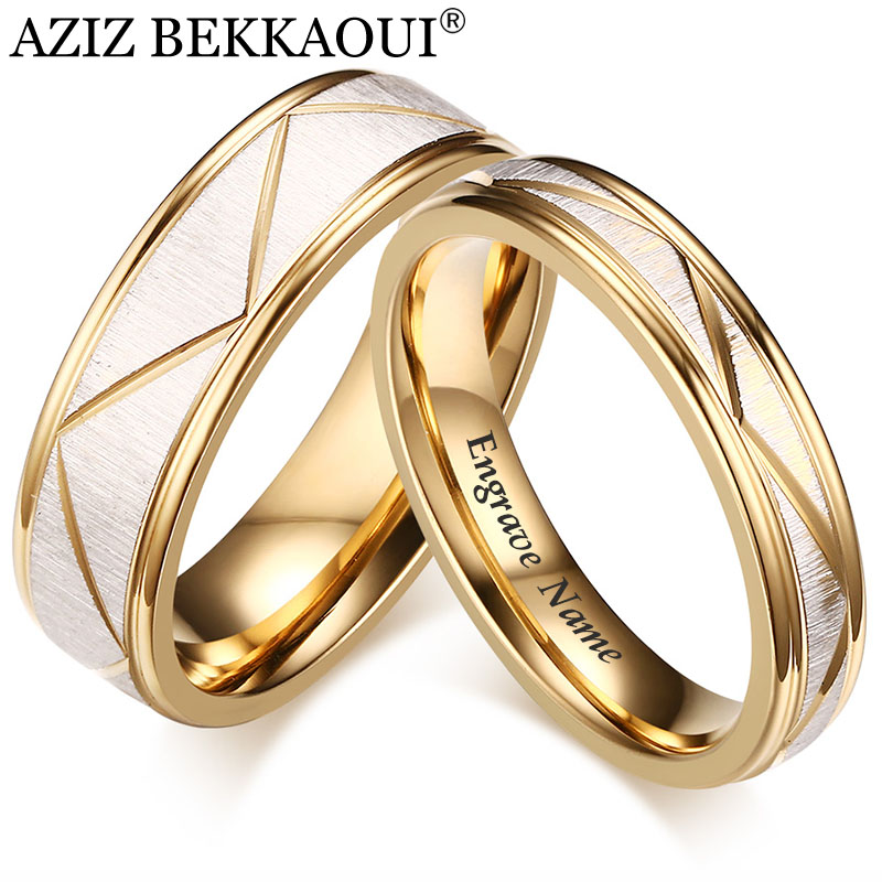 Best Sale 5bba Aziz Bekkaoui Engrave Name Romantic Wedding Rings For Lover Fashion Stainless Steel Couple Rings For Engagement Party Jewelry Cicig Co