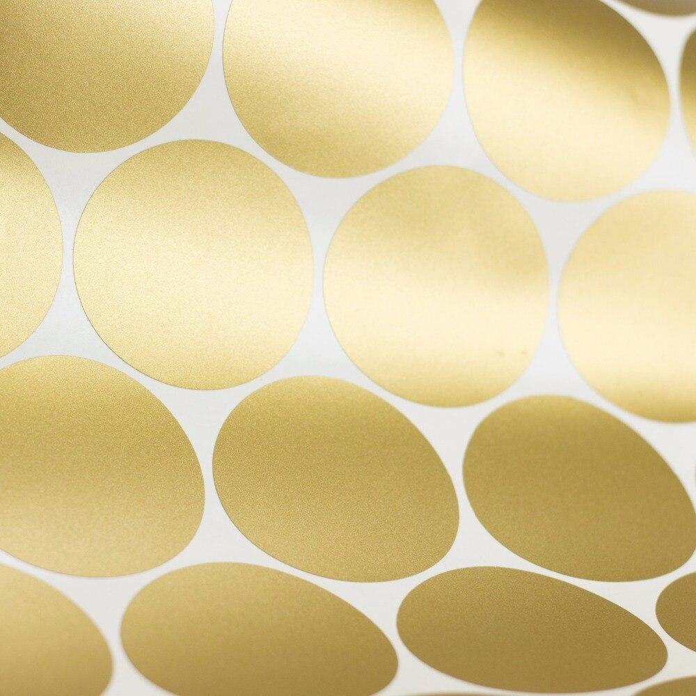 Removable Peel and Stick Gold Metallic Vinyl Polka Dot Round Circle ...