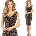 Caliente con cuello en v sin mangas estampado de leopardo sexy party club dress women casual vaina bodycon vestidos del lápiz