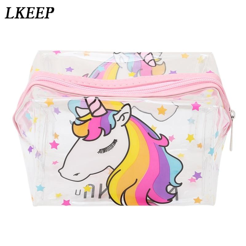 Unicorn Transparent Makeup Bag Waterproof Zipper Toiletry Bag Portable Women Travel Cosmetic Bags Unicorn
