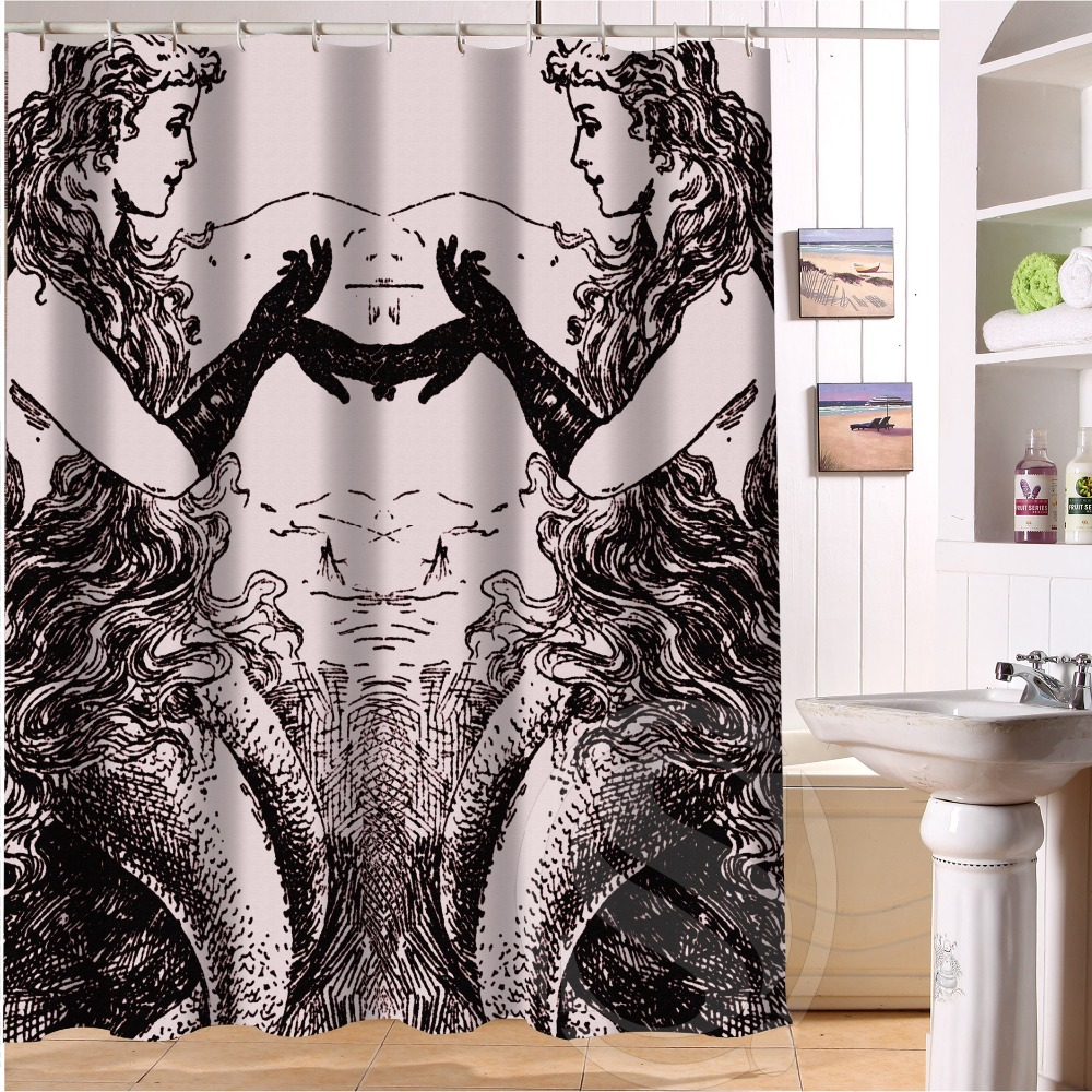 Black and white hello kitty shower curtain - Free Shipping Double Mermaid Shower Curtain Bath Curtain High Quality Of Shower Curtain 60 X