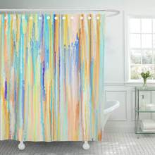 Colorful Color Colourful Abstract Painting Canvas Expressionism Artistic Border Brush Decor Shower Curtains Bathroom Curtain(China)