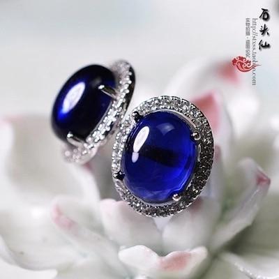 Retro royal palace 925 Sterling silver Vintage blue stud earrings female Blue corundum Natural semi-precious stones genuine