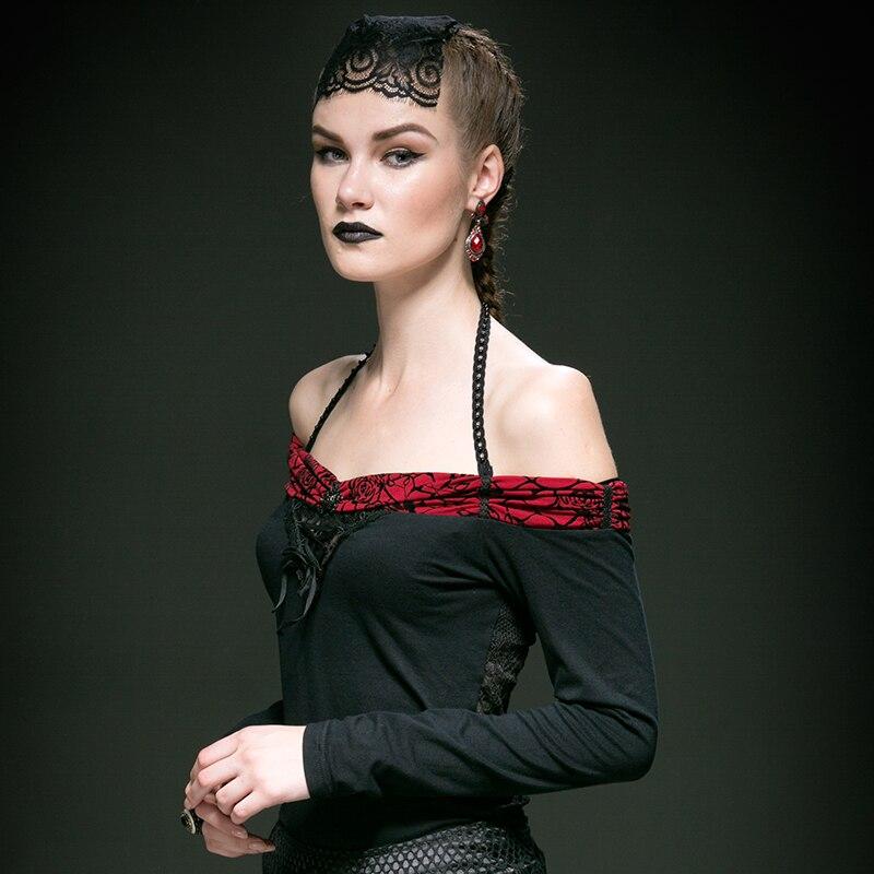 T Femmes Tops Magnifique Flocage Off Rose Épissage Dentelle shirt Charme Noir Avec épaule Gothique Sexy 76gbYfy