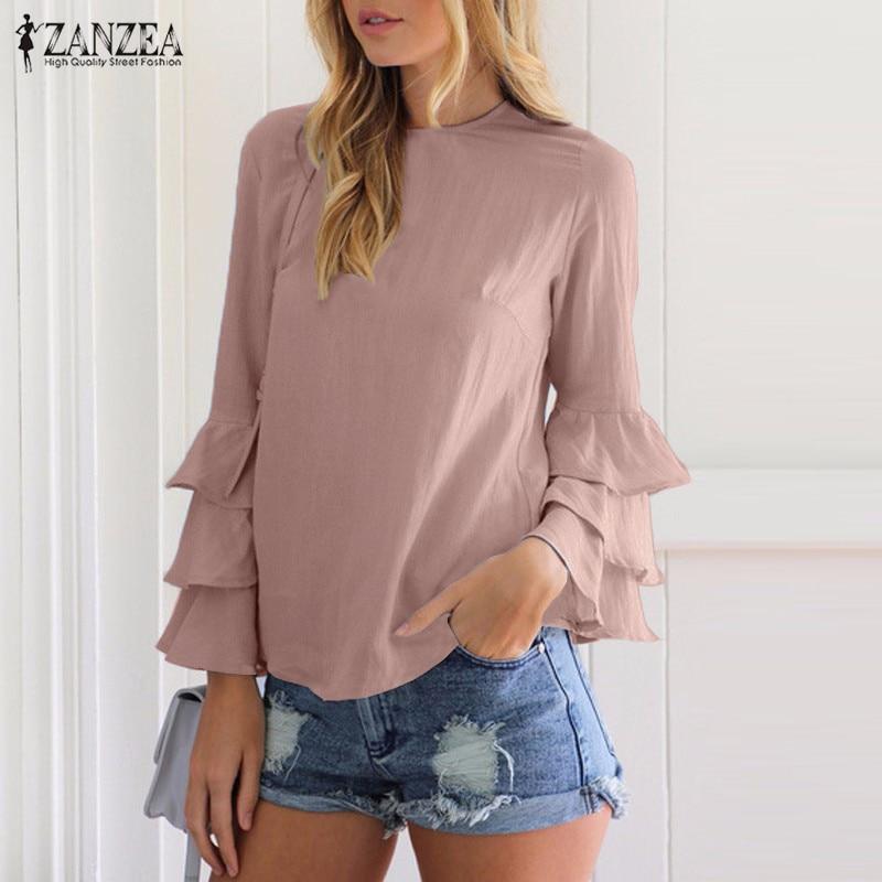 Zanzea kobiety bluzki koszule 2017 jesień eleganckie panie o-neck falbanką długim rękawem stałe blusas casual loose tops 4