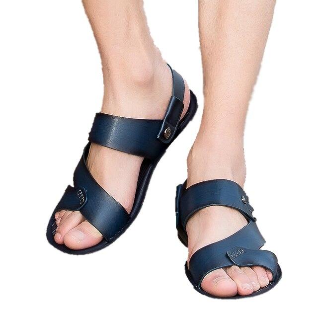 2016 sandalias masculinas de verano zapatos de cuero genuino sandalias de punta abierta zapatillas moda zapatos de estilo de Inglaterra de la Manera ocasional de la playa