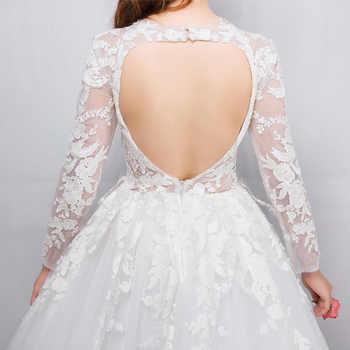 Wedding Dress The White Bride Elegant Ball Gown Classic Brush Train Sexy Backless Princess Illusion Vestido De Noiva F