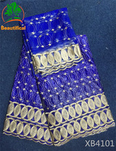 BEAUTIFICAL Bazin riche getzner fabric royal blue high quality beaded African lace fabrics for wedding dress wholesale XB41