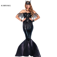 Kimring Black Sequin Mermaid Formal Evening Dress Halloween Costume Sexy Mermaid Long Prom Gowns