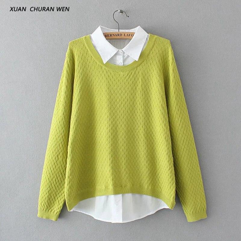 XUANCHURANWEN Autumn Faux Two Piece Sweater Long Sleeve font b Pullover b font Knitwear font b