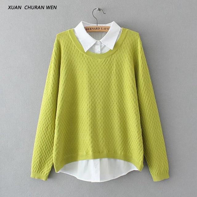 Xuanchuranwen осень искусственного двух частей свитер пуловер с длинными рукавами Трикотаж Женщины свободные плюс Размеры свитер в стиле пэчворк YY55