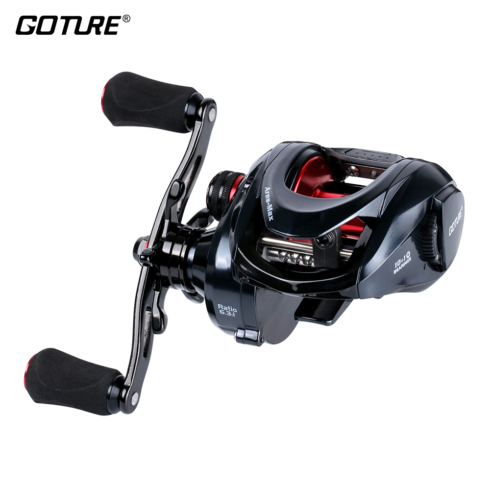 Goture Ares-Max Heavy Duty Baitcasting Reel 10+1BB Max Drag 22lbs/10kg 6.3:1 Saltwater Sea Fishing Reels Bait Casting Wheel new 12bb left right handle drum saltwater fishing reel baitcasting saltwater sea fishing reels bait casting cast drum wheel