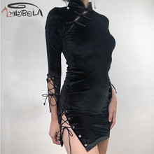 Imily Bela Bandage Split Gothic Mini Dress Long Sleeve Mandarin Collar Hollow Out Black Bodycon Dress Autumn Club Dark Cheongsam цена