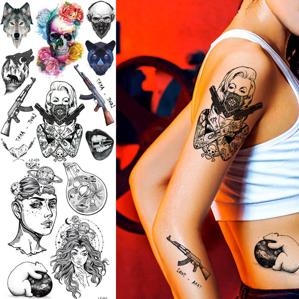 Us 0 99 Coktak Sexy Mask Women Temporary Tattoos Gangster Agent Gun Girl Tatoo Body Art Waterproof Fake Skull Arm Tattoo Sticker For Men In