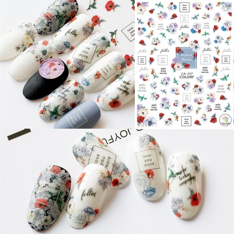 Nyaste 3d nagelkonst klistermärke SOLONAIL hanyi-19 blomma-19 Stämpel mall dekaler verktyg DIY nagel dekorationsverktyg