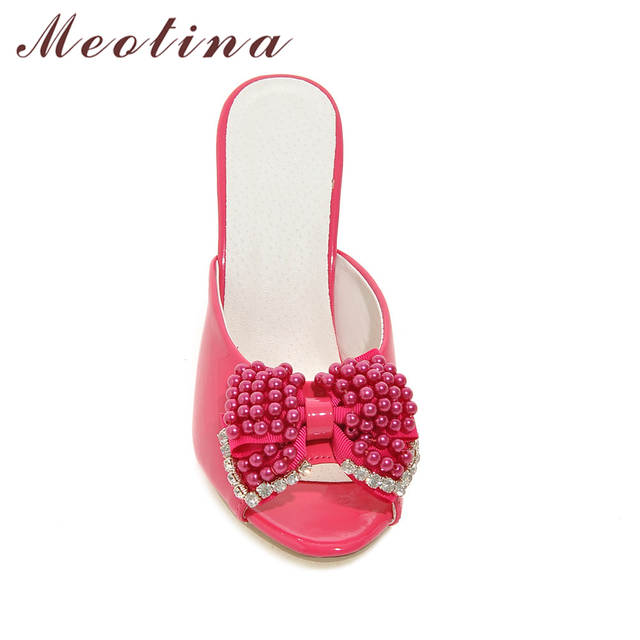 aa57e8645b527 placeholder Meotina Women Sandals Party Slides Red Evening Heels Summer  Peep Toe Beading Ladies Slippers Crystal Shoes