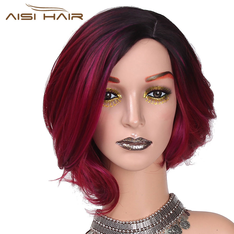 I's a wig 12Long Synthetic Ombre Red Short Hair Wigs for Women False Hair Can Be Cosplay