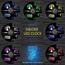 3D כוכב מלחמת שיא שעון ויניל LP חלול CD שעון עיצוב בית תליית קיר שעון יצירתי וסגנון עתיק LED שעון