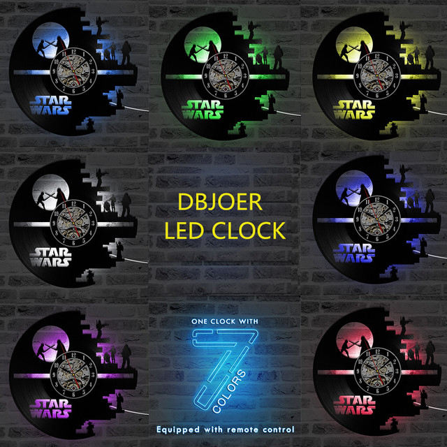 3D Star Wars Record Clock Vinyl LP Hollow CD Clock Decor Home Hanging Wall Clock Creative and Antique Style LED Clock